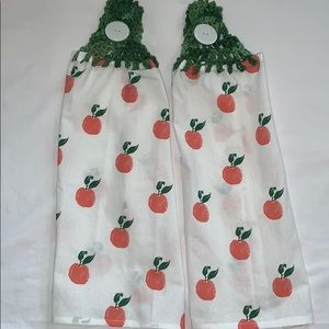 Other - Lot of 2 🍑 Crocheted Hanging Cotton Kitchen Towel